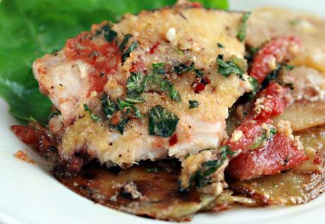 Potato and swordfish tortino