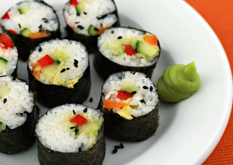 Vegetable sushi makes a perfect summertime lunch.
