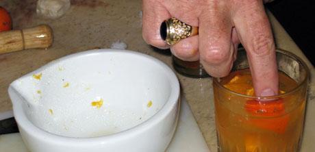 Stirring the caipirinha