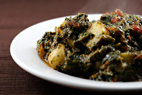 ... Recipe: saag aloo/potatoes with spiced spinach) {vegan, gluten-free