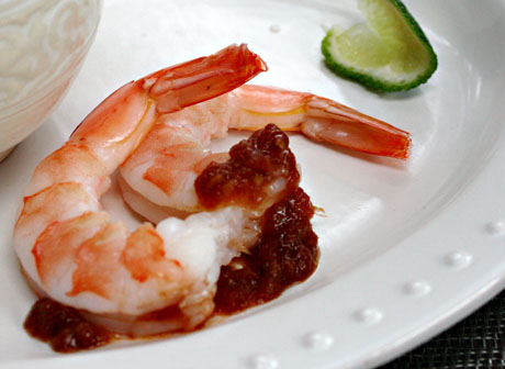 Shrimp with tomato jam