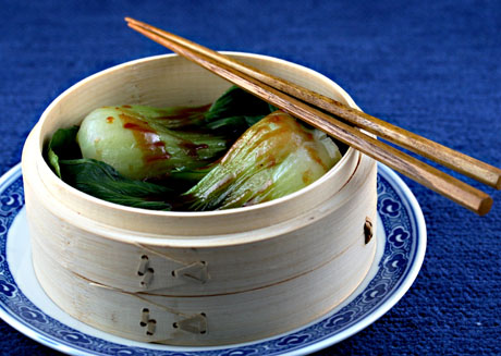 Steamed bok choy with hoisin