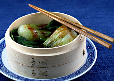 Steamed bok choy with hoisin