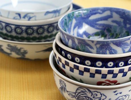 Seven blue soup bowls