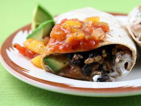 Black bean and brown rice burrito