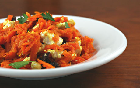 Spicy and crispy Moroccan carrot salad, with olives and feta cheese.