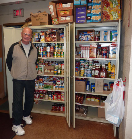 Joe Peters runs the food pantry with his wife Virginia, our town's director of human services.