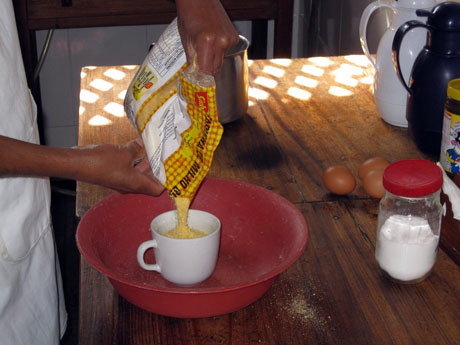 Measure the corn flour.