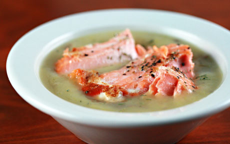 Leek, potato and salmon soup