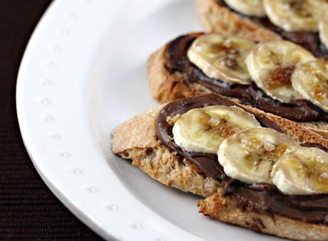 Nutella bruschetta with bananas and sea salt.