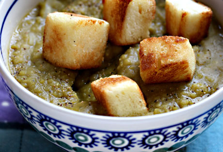 Green split pea soup with challah croutons hits the spot on a winter day.