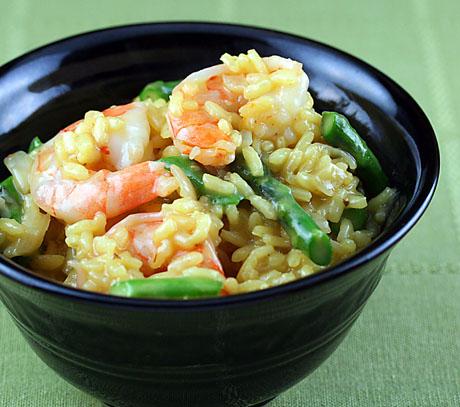 Shrimp asparagus risotto
