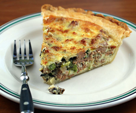 Asparagus, mushroom and sausage quiche