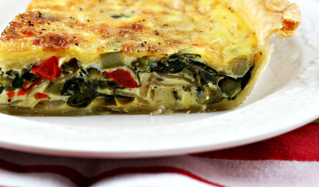 Red pepper and spinach quiche