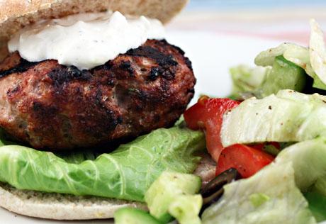 Turkey burger, souvlaki style.