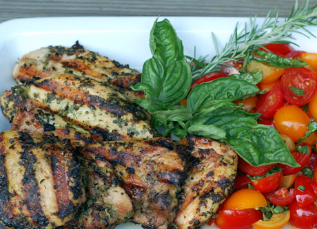 Brick-grilled chicken thighs.