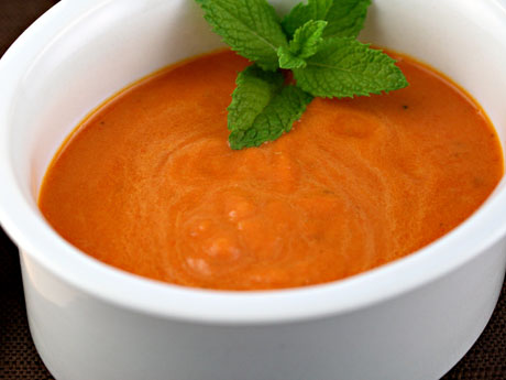 Eggplant, roasted pepper and mint soup