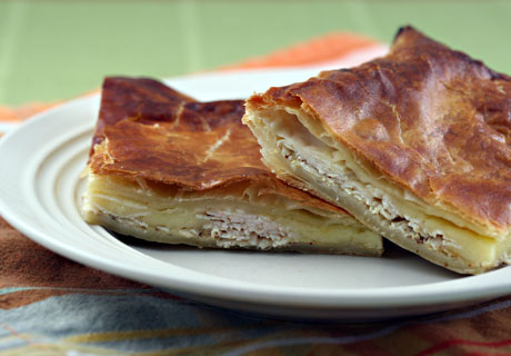 Turkey and cheese in puff pastry