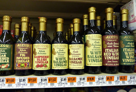 A selection of vinegars at Dino's.