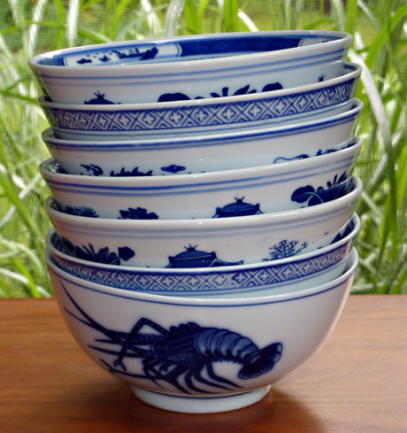 Seven Chinese soup bowls