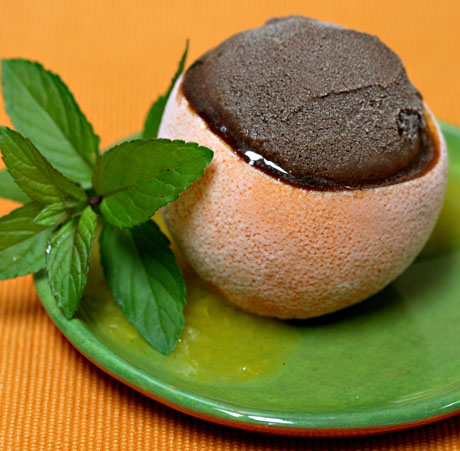 Super-easy dessert for a summer day: chocolate sorbet with a vanilla-orange sauce.