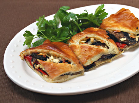 Grilled vegetable and goat cheese puff pastry tart, perfect for lunch or dinner.
