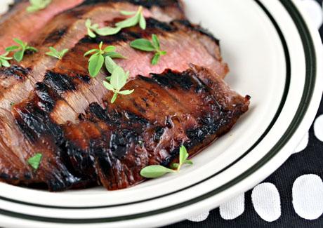 Grilled flank steak with ponzu glaze