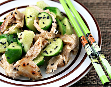 Cucumber and chicken salad with sesame ginger dressing