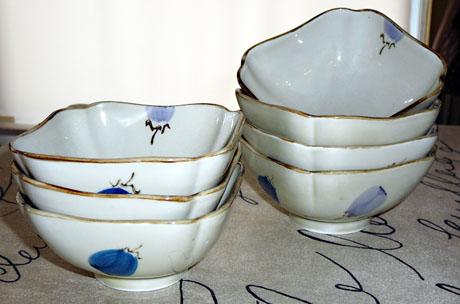 Seven Japanese eggplant bowls