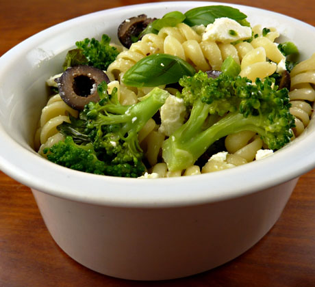 Broccoli, pasta and feta salad
