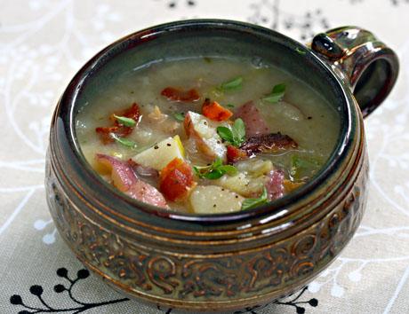 Smashed potato and leek soup