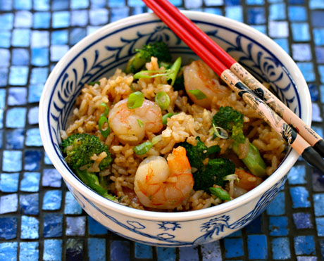 Shrimp, broccoli and scallion fried rice