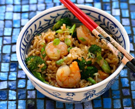 Shrimp, broccoli and scallion fried rice