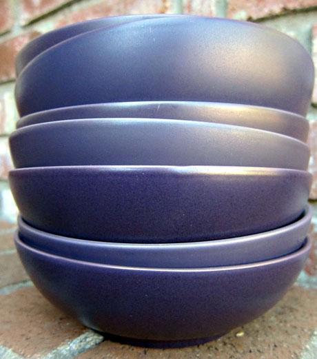 Seven purple Noritake bowls