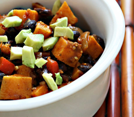 Vegan black bean and sweet potato stew