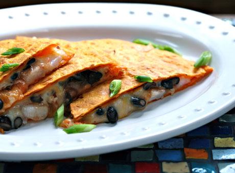 Black bean and shrimp quesadillas