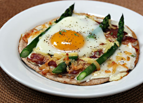 Asparagus cheese and bacon pizza