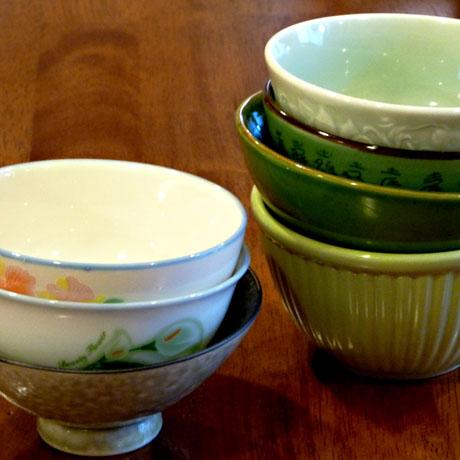 Seven green bowls