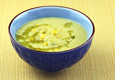 Cream of corn soup with basil oil