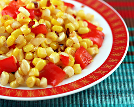 Stir fried corn and red pepper