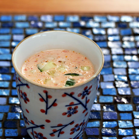 Slow-roasted tomato and yogurt soup