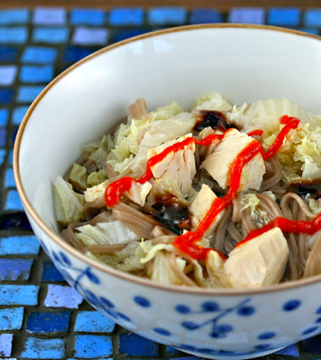 Chicken, cabbage and soba soup
