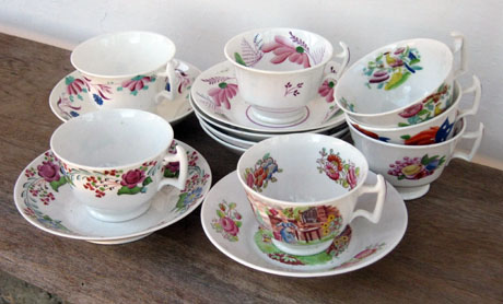 Seven tea cups for soup