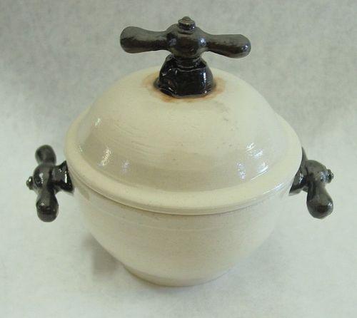 Spigot handle lidded soup bowl