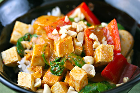 Vegan red curry tofu