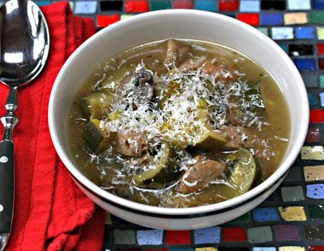Chicken sausage, zucchini and mushroom soup