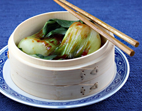 Steamed baby bok choy with hoisin glaze