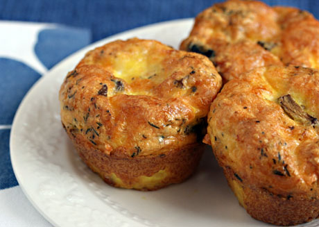 Egg and cheese breakfast muffins with mushrooms and thyme