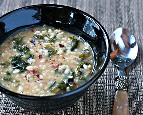 White lentil and kale soup