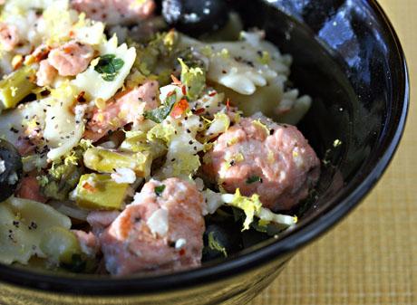 Salmon, asparagus and lemon pasta